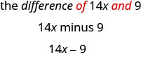 The difference of 14 x and 9, 14 x minus 9.