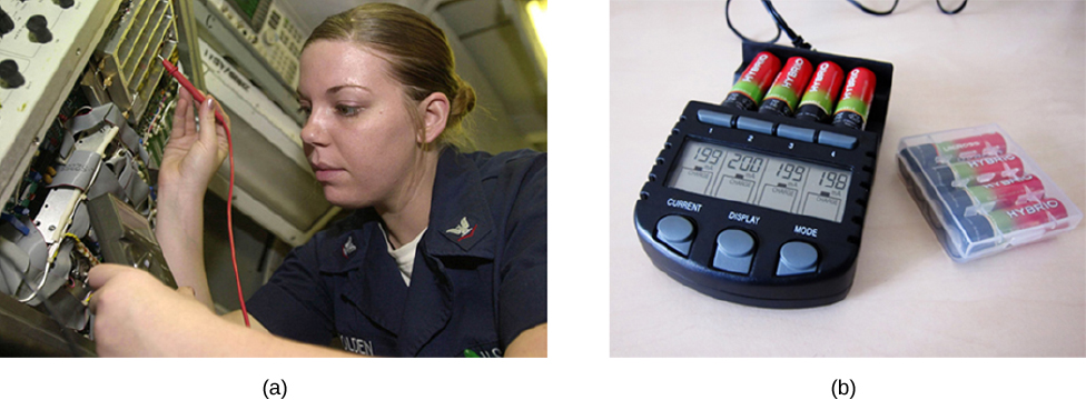 Part a shows photo of a technician testing batteries and part b shows a battery testing device.