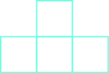 Four squares are shown. Three form a horizontal line, and there is one above the center square.