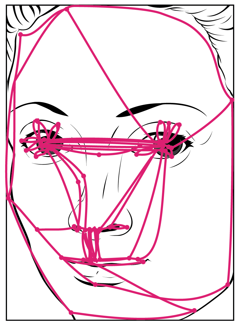 The left panel of this figure shows a painting of a woman's face, and the right panel shows lines traced over the painting. These lines represent the shifts in the gaze of a person looking at another face.