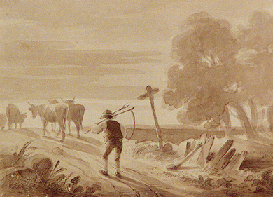 A painting shows a yeoman farmer, carrying a scythe, as he follows a few cattle down the road.