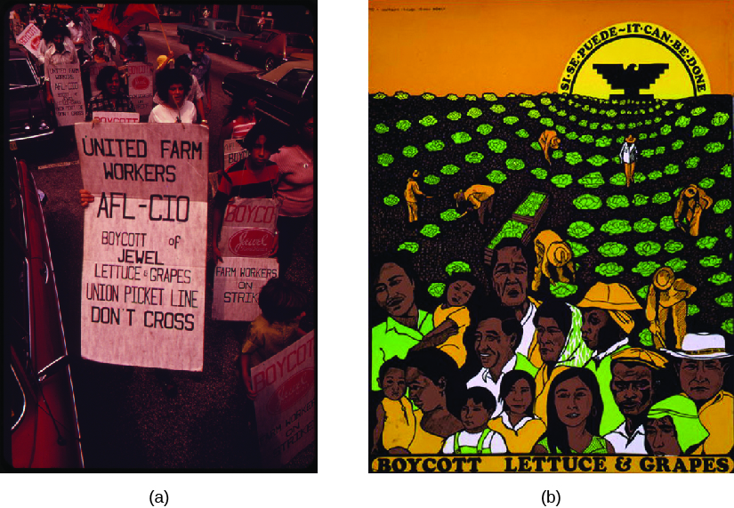 "Image A is of a group of people carrying signs. The signs read ""United Farm Workers AFL-CIO boycott of Jewel Lettuce & Grapes Union Picket Line Don't Cross"" and ""Boycott, Farm Workers on Strike"". Image B is of a poster that shows people picking crops in a field. The sun rises in the background. In the center of the sun is an eagle, and text along the sun reads ""Si se puede ~ It can be done"". Text at the bottom of the poster reads ""Boycott Lettuce & Grapes""."