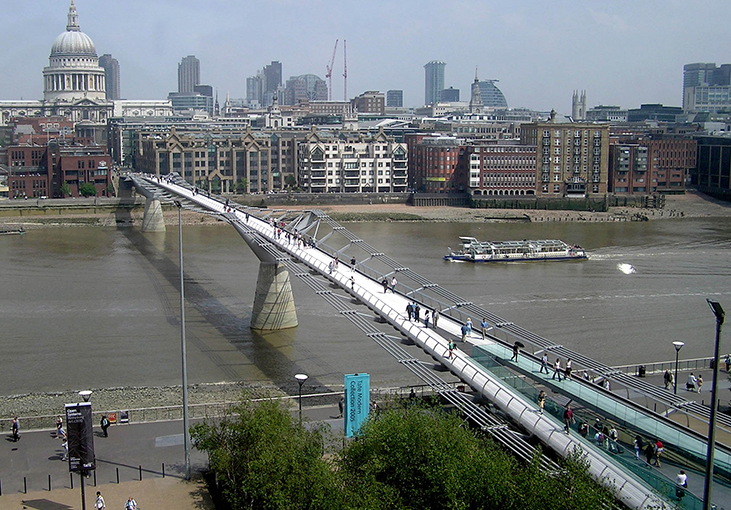 An image shows the London Millennium Footbridge.