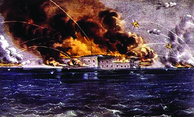 A lithograph shows the Confederacy's attack on Fort Sumter, which explodes in flames.