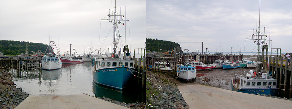 Two photos of the same marina at the Bay of Fundy and appear to be taken from the same location. The photo on the left was taken when the water is high, the water line is nearby and the boats are all floating in the water. The photo on the right was taken when the water is low. The water line is quite distant and the boats are resting on mud.