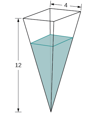An upside-down square pyramid is shown with square side lengths 4 and height 12. There is an unspecified amount of water inside the shape.