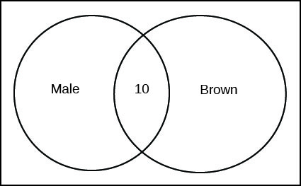 This is a Venn diagram, two overlapping circles inside a rectangle. The left circle is labeled Male. The right circle is labeled Brown. The overlapping section shows the number 10.