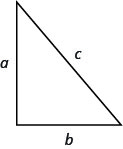 Image shows a right triangle with horizontal and vertical legs. The vertical leg is labeled a. The horizontal side is labeled b. The hypotenuse is labeled c.