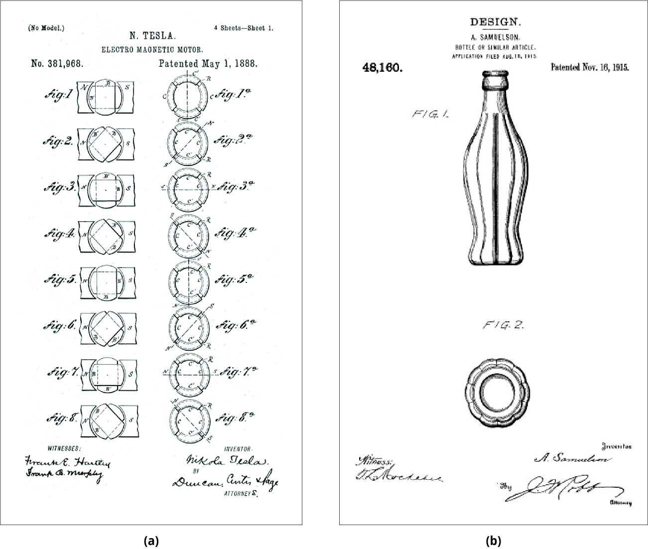 In (a), a drawing of different views of an alternating-current motor. In (b), drawings of the front view and top-down view of a soft drink bottle.