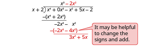 "x cubed minus 2 x squared is written on top of the long division bracket. At the bottom of the long division negative 2 x cubed minus 4 x squared is subtracted to give 3 x squared plus 5 x. A note reads ""It may be helpful to change the signs and add."""