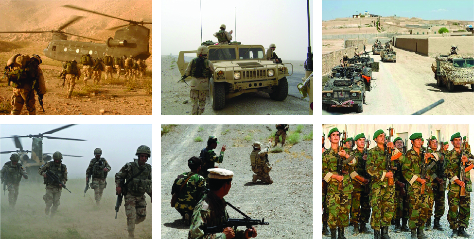 A series of six images that show combat troops in various locations Afghanistan.