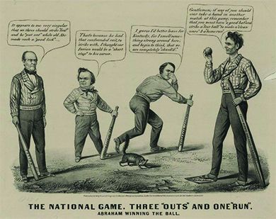 "A cartoon titled ""The national game. Three 'outs' and one 'run'"" depicts a baseball game in which Lincoln has defeated John Bell, Stephen A. Douglas, and John C. Breckinridge. Lincoln, with his foot on ""Home Base,"" says, ""Gentlemen, if any of you should ever take a hand in another match at this game, remember that you must have a good bat and strike a fair ball to make a clean score and a home run.'"" Lincoln's bat is a wooden rail labeled ""Equal Rights and Free Territory,"" and his belt is labeled ""Wide Awake Club."" A skunk raises its tail at the other candidates. Breckinridge holds his nose and declares ""I guess I'd better leave for Kentucky, for I smell something strong around here, and begin to think, that we are completely skunk'd.'"" Breckinridge's bat is labeled ""Slavery Extension,"" and his belt is labeled ""Disunion Club."" John Bell says, ""It appears to me very singular that we three should strike foul and be put out while old Abe made such a good lick."" Bell's belt is labeled ""Union Club,"" and his bat is labeled ""Fusion."" Douglas, who holds a bat labeled ""Non Intervention,"" replies, ""That's because he had that confounded rail, to strike with, I thought our fusion would be a short stop to his career."""