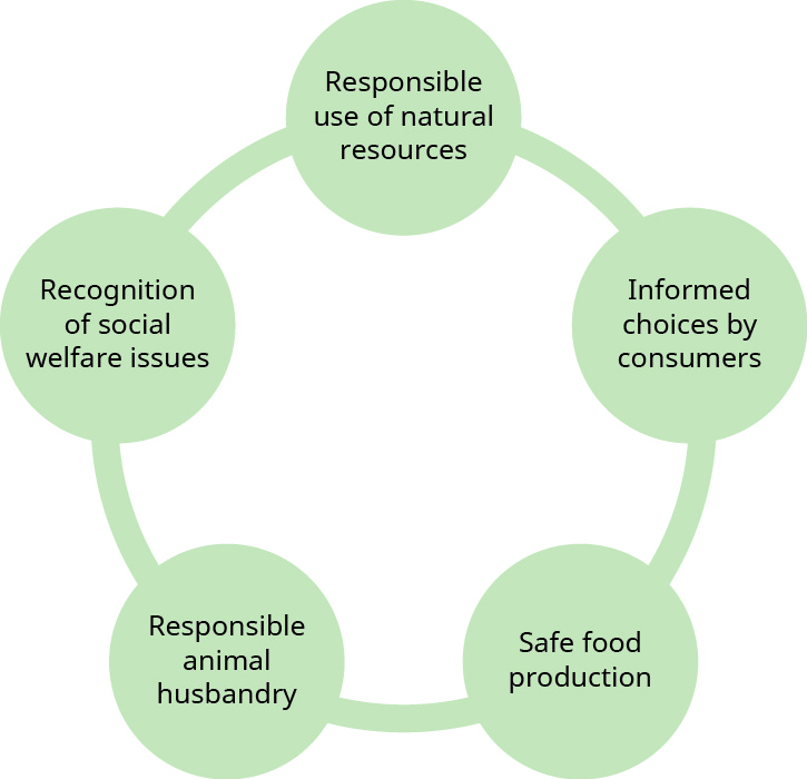 "This graphic shows five circles arranged in a circle, with a line connecting them to one another. From the top circle clockwise they are: ""Responsible use of natural resources,"" ""Informed choices by consumers,"" ""Safe food production,"" ""Responsible animal husbandry,"" and ""Recognition of social welfare issues."""