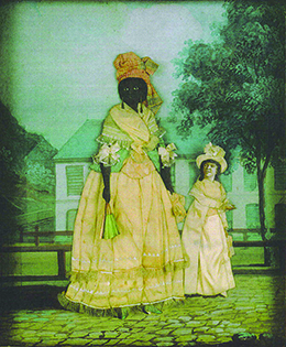 A collage painting depicts a tall, dark-skinned woman standing beside her small daughter, who has more European features, with lighter skin and curly, dark hair. Both women are elaborately dressed. In the background, a large, stately house is visible.