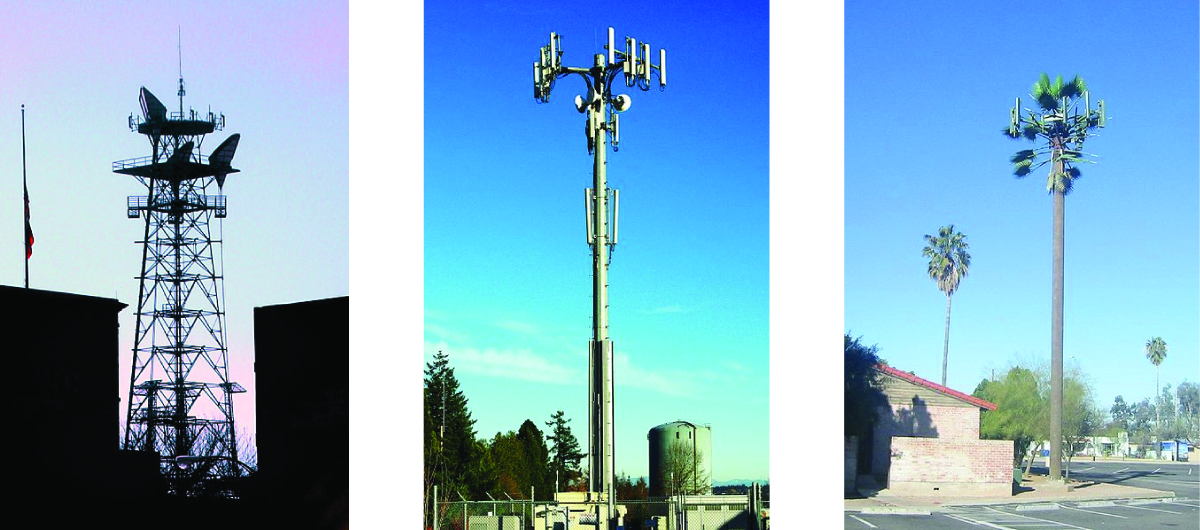 This figure consists of three cell phone tower images. The first involves a structure that uses a significant degree of scaffolding. The second image includes a tower with what appears to be a base that is essentially a large pole that branches out at the very top. The third image shows a cell phone tower that appears to be disguised as a palm tree.