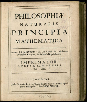 The diagram shows a cover page of Isaac Newton's book, Principia. The title, author and year are written in Latin and read: Philosophiae Naturalis Principia Mathematica, Autore: I. S. Newton, Julii 5, 1686, Londini, Anno: MDCLXXXVII.