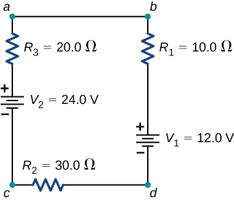 The figure shows positive terminal of voltage source V subscript 2 of 24 V connected in series to resistor R subscript 3 of 20 Ω connected in series to resistor R subscript 1 of 10 Ω connected in series to positive terminal of voltage source V subscript 1 of 12 V connected in series to resistor R subscript 2 of 30 Ω.