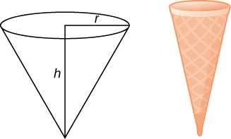 This figure has two images. The first is an upside-down cone with radius r and height h. The second is an ice cream cone.