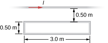 Figure shows a long, straight wire and a single-turn rectangular wire loop with length 3.0 m and width 0.5cm, both of which lie in the plane of the page. The wire is parallel to the long sides of the loop and is 0.50 m away from the closer side.