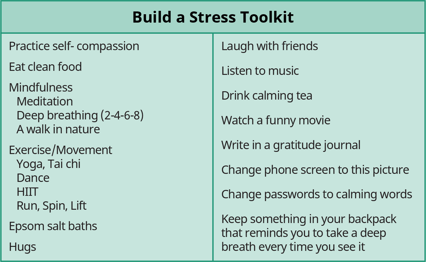 """A chart titled """"Build a Stress Toolkit"""" lists a toolkit to fight stress."""