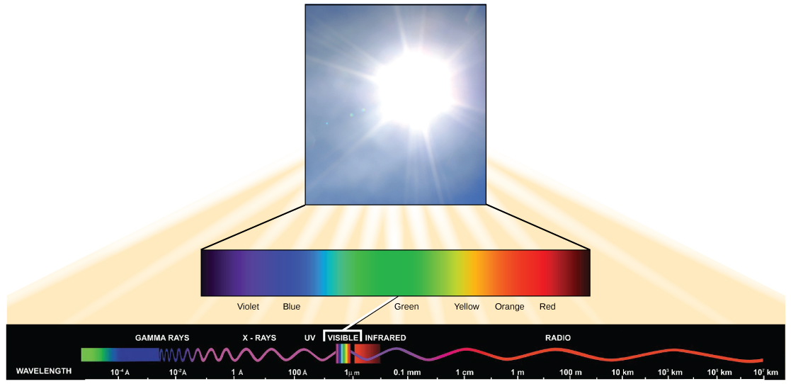 The illustration lists the types of electromagnetic radiation in order of increasing wavelength. These include gamma rays, X-rays, ultraviolet, visible, infrared, and radio. Gamma rays have a very short wavelength, on the order of one thousandth of a nanometer. Radio waves have a very long wavelength, on the order of one kilometer. Visible light ranges from 380 nanometers at the violet end of the spectrum, to 750 nanometers at the red end of the spectrum.