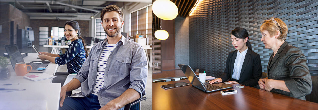 A set of two photos show people working in different office environments.
