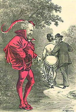 "A cartoon shows Roscoe Conkling dressed as the devil, while Hayes walks off with his arm around a woman's waist. The caption reads: ""Unto that Power he doth belong Which only doeth Right while ever willing Wrong."""