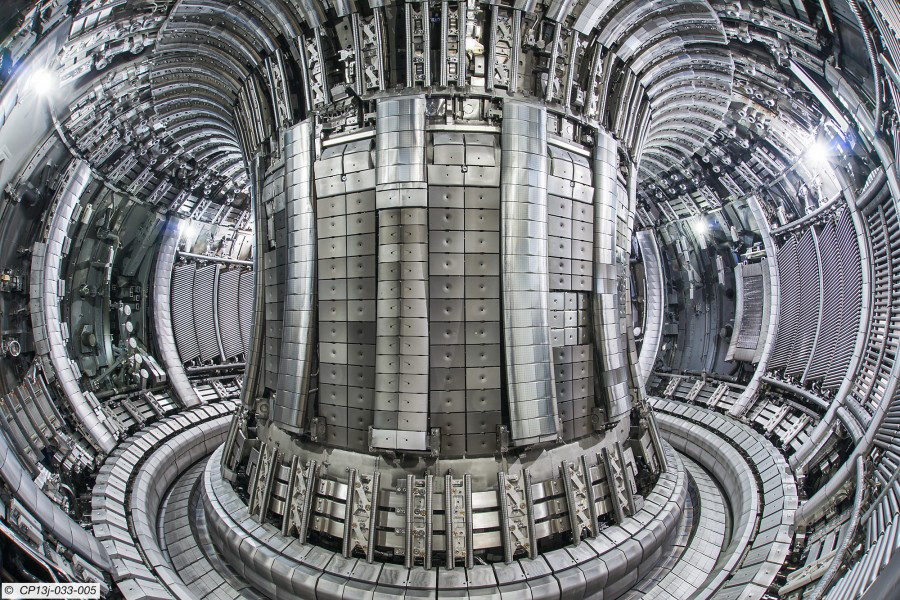 A photograph of The Joint European Torus (JET) tokamak fusion detector.