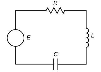 This figure is a diagram of a circuit. It has broken lines at the bottom labeled C. On the left side there is an open circle labeled E. The top has diagonal lines labeled R. The right side has little bumps labeled L.