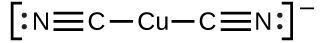 A Cu atom is bonded to two C atoms. Each of these C atoms is triple bonded to an N atom. Each N atom has two dots on the side of it.