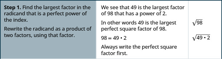 The first step in the process is to find the largest factor in the radicand that is a perfect power of the index and rewrite the radicand as a product of two factors, using that factor. We see that 49 is the largest factor of 98 that has a power of 2. In other words 49 is the largest perfect square factor of 98. We can write 98 equals 49 times 2. Always write the perfect square factor first. The square root of 98 can then be written as the square root of the quantity 49 times 2 in parentheses.