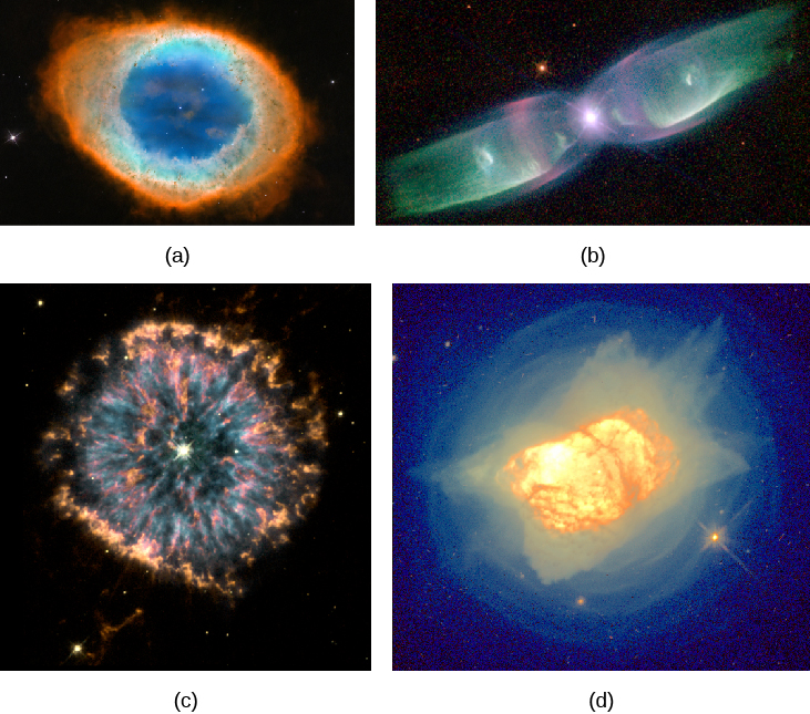 "Gallery of Planetary Nebulae. Panel (a), at the upper left corner of this image, shows M 57, a fairly symmetrical ring of glowing gas surrounding the faint central star. Panel (b), at the upper right corner of this image, shows M 2-9, which appears like an elongated butterfly. The central star being the body and the gaseous ""wings"" to the left and right of the star. At the lower left corner in panel (c) is N G C 6751. This planetary nebula has streams and clumps of bright gas superimposed over a symmetric ring structure surrounding the central star. Finally, panel (d) at the lower right corner presents N G C 7027. This nebula appears as an indistinct, mottled blob of gas surrounded by multiple faint shells of material."