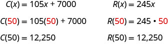 C of x is 105x plus 7000. C of 50 is 105 times 50 plus 7000, which is equal to 12250. R of x is 245x. R of 50 is 245 times 50, which is 12250.