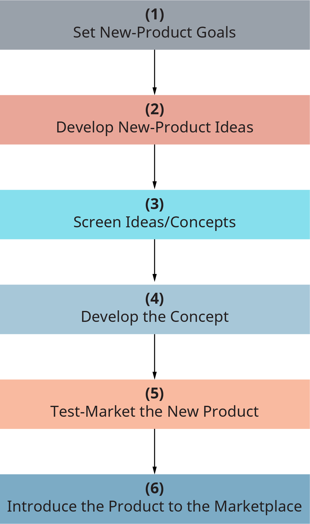 Each step flows into the next. Step 1, set new product goals. Step 2, develop new product ideas. Step 3, Screen ideas slash concepts. Step 4, develop the concept. Step 5, test market the new product. Step 6, introduce the product to the marketplace.