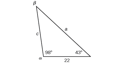 An oblique triangle with standard labels. Angle alpha is 98 degrees, angle gamma is 43 degrees, and side b is of length 22. Side b is the horizontal base.