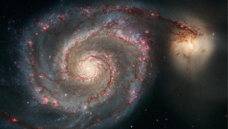 A photograph of the Whirlpool Galaxy