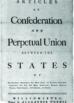 "The first page of the Articles of Confederation is shown. The language reads ""Articles of Confederation and Perpetual Union between the States of New-Hampshire, Massachusetts-Bay, Rhode-Island and Providence Plantations, Connecticut, New-York, New-Jersey, Pennsylvania, Delaware, Maryland, Virginia, North-Carolina, South-Carolina and Georgia."""