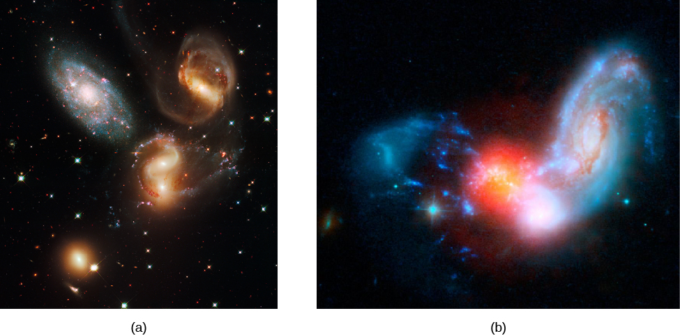 Starburst Associated with Colliding Galaxies. Panel a, at left, shows three of the galaxies (to the right of center) in the small group known as Stephan's Quintet that are interacting gravitationally with each other, resulting in the distorted shapes seen here. Panel b, at right, shows galaxy II Zw 096. This combined image using both Hubble and Spitzer Space Telescope data shows that it is forming bright clusters of new stars at a prodigious rate. The blue colors (left and right of center) show the merging galaxies in visible light, while the red colors (at center) show infrared radiation from the dusty region where star formation is happening.