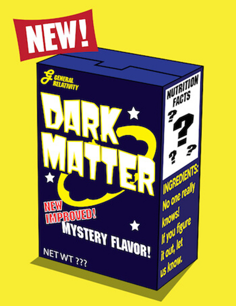 "Dark Matter Cartoon. This illustration shows dark matter as a box of cereal. The front reads: ""General Relativity (with a logo), Dark Matter, New Improved! Mystery Flavor! Net Wt ???"" The side of the box reads: ""Nutrition Facts ???, Ingredients: No one really knows! If you figure it out, let us know."""