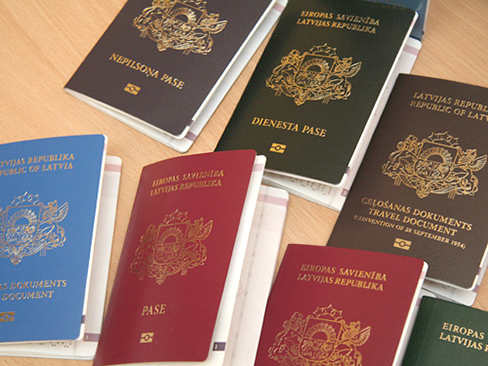 Photo of international passports.