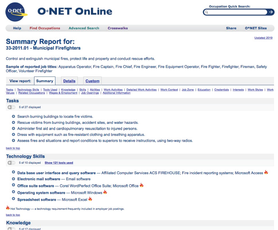 "A screenshot of a website called ""O-net online."" The page is a Summary report for Municipal Firefighters. Under the heading is a definition: ""control and extinguish municipal fires, protect life and property and conduct rescue efforts."" There is a sample of reported job titles including Apparatus operator, fire captain, fire chief, fire engineer, fire equipment operator, fire figher, fireman, safety officer, volunteer firefighter. The page includes a summary of tasks including ""Search burning buildings to locate fire victims, rescue victims from burning buildings, ancient sites, and water hazards, administer first aid and cardiopulmonary resuscitation to injured persons, dress with equipment such as fire-resistant clothing and breathing apparatus, assess fires and situations and report conditions to superiors to receive instructions, using two-way radios."" The summary of technology skills includes ""Data base user interface and query software—Affiliated Computer Services ACS Firehouse; fire incident reporting systems Microsoft Access; electronic mail software—email software; Office suite software—Corel WordPerfect Office Suit, Microsoft Office; Operating system software—Microsoft Windows; Spreadsheet software—Microsoft Excel."""