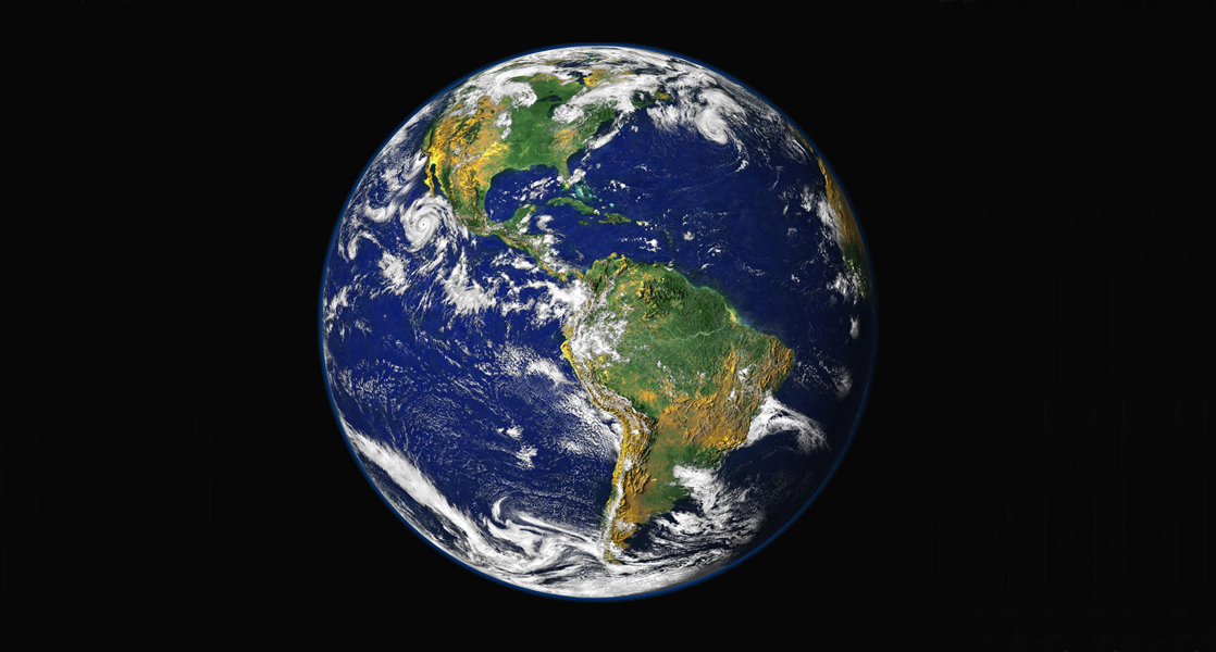 A photo depicts Earth from space.