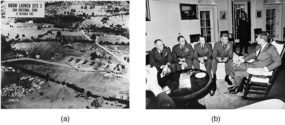 "Photograph (a), labeled ""MRBM Launch Site 3/San Cristobal, Cuba/27 October 1962,"" shows an aerial view of a Cuban missile site. Photograph (b) shows President Kennedy seated in a chair, meeting with a group of uniformed pilots."