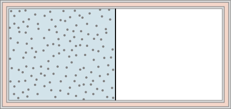 The figure is an illustration of a container with a partition in the middle dividing it into two chambers.  The outer walls are insulated. The chamber on the left is full of gas, indicated by blue shading and many small dots representing the gas molecules. The right chamber is empty.