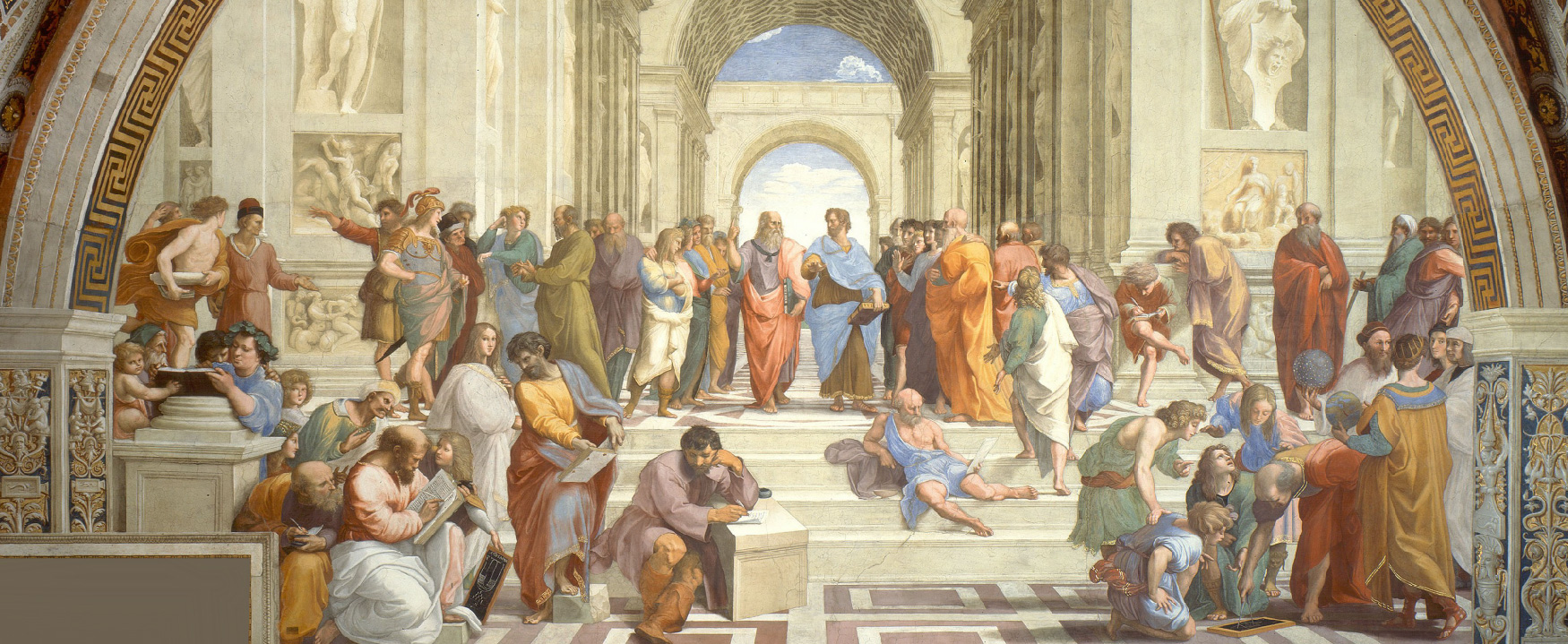 An engraving shows the interior of The School of Athens by Raphael.