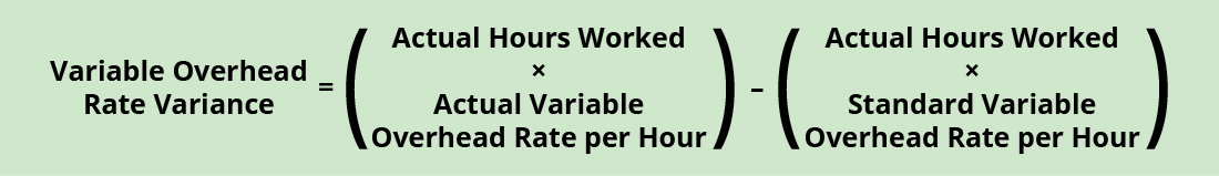 Variable Overhead Rate Variance equals (Actual Hours Worked times Actual Variable Overhead Rate per Hour) minus (Actual Hours Worked times Standard Variable Overhead Rate per Hour).