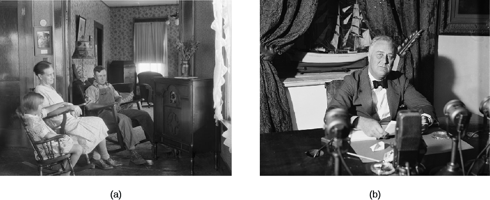 Image A is of three people sitting in rocking chairs with a radio in front of them. Image B is of Franklin D. Roosevelt seated with several microphones on a desk in front of him.