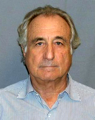In figure (b), a photograph of a man in a blue shirt (Bernie Madoff) is shown.