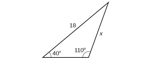 A triangle. One angle is 40 degrees with opposite side = x. Another angle is 110 degrees with side opposite = 18.
