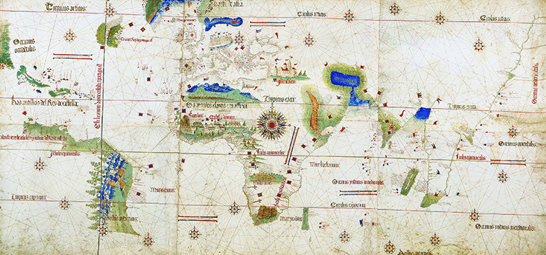 A 1502 map depicts the cartographer's interpretation of the world. The map shows areas of Portuguese and Spanish exploration, the two nations' claims under the Treaty of Tordesillas, and a variety of flora, fauna, figures, and structures.